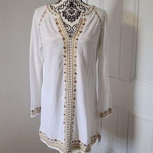 Boden Edie kaftan style dress metallic embroidered